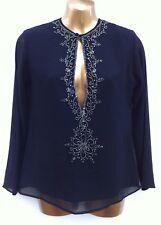 PHOOL Sheer Black Peephole Open Front Top Size 10 Bead Sequin Embellished