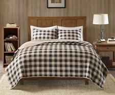 CABIN TAN BUFFALO CHECK Full Queen QUILT SET : COUNTRY WESTERN LODGE PLAID BED
