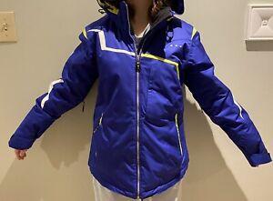 Obermeyer Ski Jacket Size 6 Women's Purple/Blue White Zip On Hood