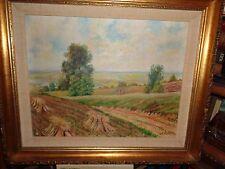 """A. Vielh """"Farm Hayfields in Fall: OCF c.1925 Landscape fields"""