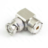 New BNC male to UHF female SO239 Right Angle 90 Degree Deg RF Connector Adapter