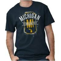 Vintage Michigan Sports University Gift MI Adult Short Sleeve Crewneck Tee