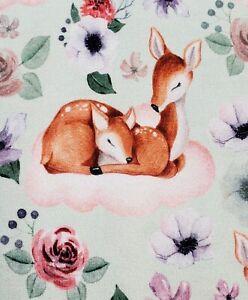 Organic Cotton Baumwolle Jersey Stoff Boho Reh und Rehkitz Blumen rosa mint