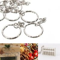 10Pcs DIY Silver Metal 4 Link Keyring Keychain Short Chain Split Ring Key Rings