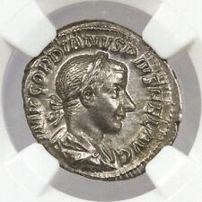 Silver Denarius of Gordian III (AD 238-244) Roman Empire NGC CH AU SKU40204