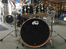DW Drum Workshop Collectors Black Finish Ply w/Gold HW Drum Set Kit $3972.54
