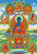 25Inch Tibetan Thangka Buddhist Deity Medicine Buddha Silk Brocade Scroll Printd