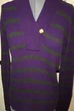 RALPH LAUREN Gray Purple Striped 100% Cotton Long Sleeve Sweater Size L MSRP $86