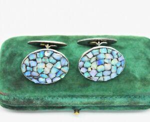 Vintage Sterling Silver Cufflinks Art Deco Blue Opal Shard Wedding Present Gift