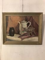 """Painting,Oil On Board """"Mother's Teapot Signed Francis Henderson C9pix.MAKE OFFER"""