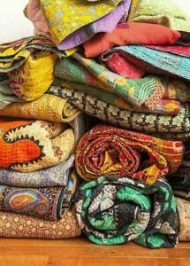 10 Pc Lot Vintage Kantha Quilt Handmade Indian Cotton Bedspread Wholesale Set
