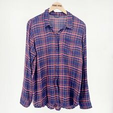 Lucky Brand Womens Top Large Plaid Blue Split Back Long Sleeve Shirt Button Up