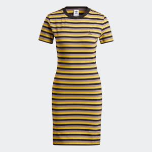 Adidas Women's Striped Dress, Black / Corn Yellow