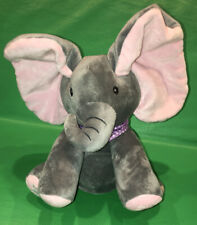 Peek-a-boo Elephant Baby Plush Toy Singing Gray Pink Animated Flappy Ears