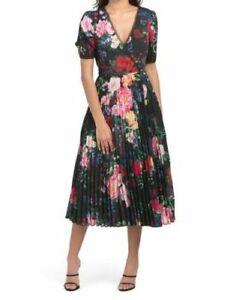 MARCHESA NOTTE PLEATED FLORAL WRAP DRESS, NEW SIZE 8, BLACK/MULTI