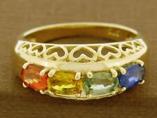 R154 Genuine 18K Solid Gold Natural Fancy Rainbow Sapphire Heart Eternity Ring