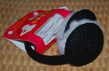 Earmuffs Sporto Earmuff Headphones Use Electronic Devices Faux Fur Knit Black