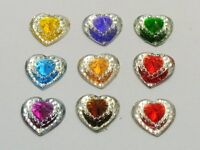 100 Mixed Color Acrylic Flatback Heart Rhinestone Gems 13X10mm Pyramid Cone