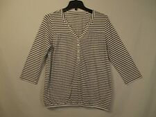 Ann Taylor LOFT White & Black Striped V-Neck 3/4 Sleeve Career Top - Size M