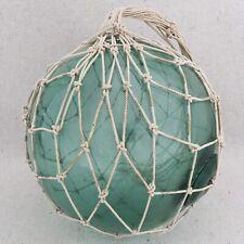 "Vintage Japanese Aqua Green Glass Nautical Fishing Float With Netting 23"" Circ"