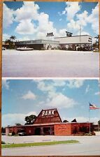 Manatee & Sarasota County, Fl 1960s Chrome Bank Advertising Postcard - Florida