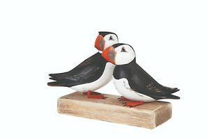 ARCHIPELAGO Hand Carved Wooden Birds - Double Puffin Block