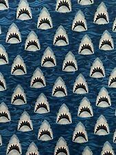 100% Cotton Fabric Fq 18�x 21� Fat Quarter Sharks Blue 1/4 Yard