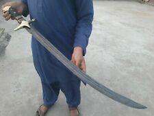 """DAMASCUS ARABIC SWORD"" HANDMADE/FIGHTING/COMBAT WITH MICARTA HANDLE 786-117"