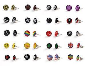 Logo Stud Earring Ear Ring Men Women Boys Girls Unisex Piercing