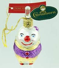 Vintage Christborn Purple Glass Clown Christmas Ornament Holiday Tree Decoration