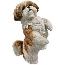 ♛ SANDICAST Dog Figurine Sculpture Shih Tzu Gold White