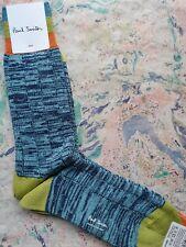 Paul Smith Mens Chunky Socks Twisted Rib Blue & Green K926 One Size Cotton Mix