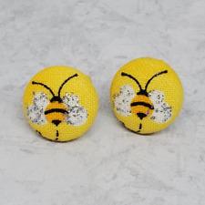 Bumble Bee Fabric Stud Earrings