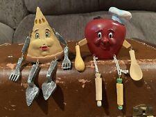 2 Vintage Anthropomorphic Shelf Sitters (apple & Pie)