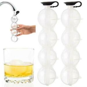 Round Mold Ice Cube Ball Makers - Refreshing Ice Sphere Circular 4 Ice Ball Tray