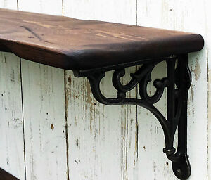 Reclaimed look Vintage style solid wood shelf with cast iron wall shelf bracket