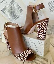 NEW Anthropologie Brown Leather Pony Animal Block Heel Open Toe Sandal Bootie 6