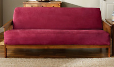 NEW sure fit vegan faux suede wine red burgundy futon Slipcover
