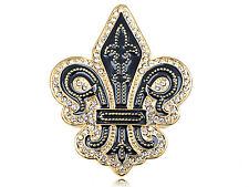Black Gold Crystal Elements Medieval Knight Time Fleur De Lis Fashion Pin Brooch