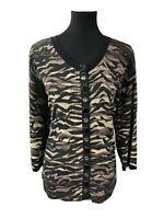 Chicos Womens Cardigan Sweater Jacket Embellished Camo Print Black Sz 3 XL 16