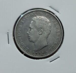 1497# PORTUGAL - 500 Reis 1889 King Luis Silver Silber KM#509 NICE COIN