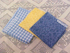 Lot of 4 Pieces Fabric for Quilting Blue Check Gingham Yellow Bubbles Blue Print