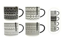 Set of 4 Stacking Mugs Coffee Tea Cups Aztec Black Cream Grey Bone China Large