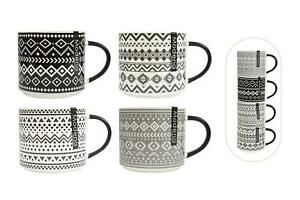 Set of 4 Stacking Mugs Coffee Tea Cups Aztec Black Cream Grey Bone China Large