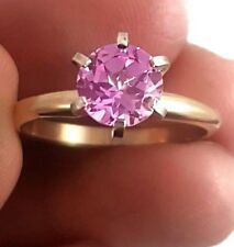 2ct Genuine Pink Sapphire 14K Solid Yellow Gold Engagement Ring Diamond Alternat