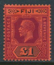 1912-1923 FIJI £1 PURPLE & BLACK/RED DIE II MINT LIGHT HINGE SG137a