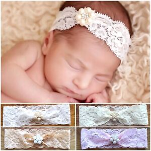 Blink Rhinestone Lace Baby Newborn Hair Band Baptism Wedding Christening