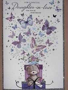 DAUGHTER-IN-LAW Birthday Card - Cute Bear & Butterflies  - Large Simon Elvin