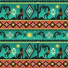 Fabric Native American Kokopelli Wolf Cactus Border Turquoise Cotton 1/4 Yard