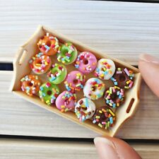 Dollhouse Miniature Food Bakery Mini Tiny Donuts Doughnut Wood Tray Decor Set